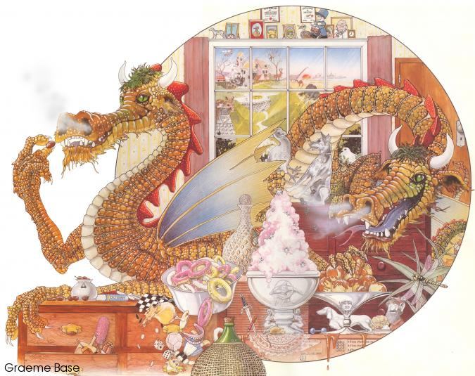 Two dragons in a room full of objects whose names begin with the letter D