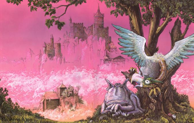 Two unusual creatures in the forground of a landscape with pink sky and castles in the distance