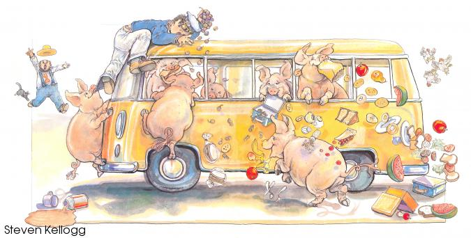 A school bus full of pigs going through student lunch boxes