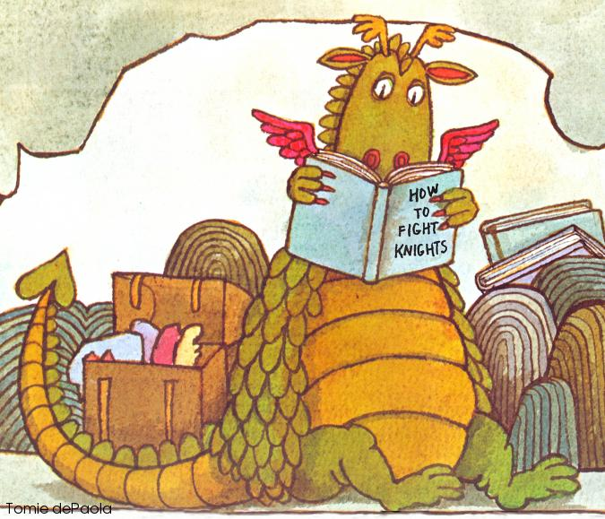 A green and yellow dragon in a cave, surronded by books, reading a book on how to fight knights