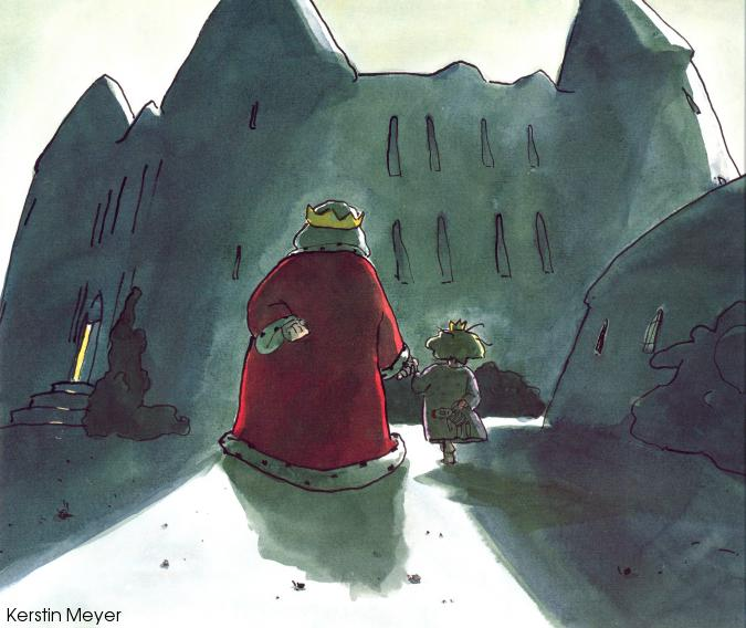 A king in a red robe holding hands with a little princess in a nightshirt walk toward a castle