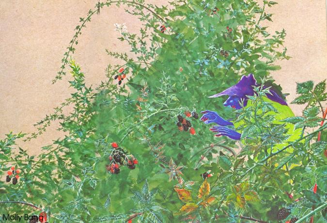 A long-fingered, blue-skinned creature wearing a purple hat, picking berries