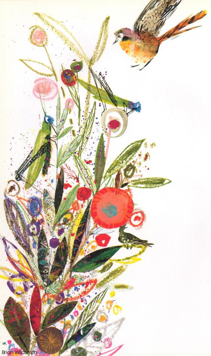 Abstract collage painting of a tall clump of flowers with grasshoppers and birds