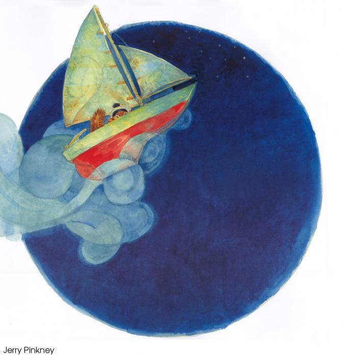 A little chipmunk dressin a sailor's cap in a small sailboat before a night blue sky