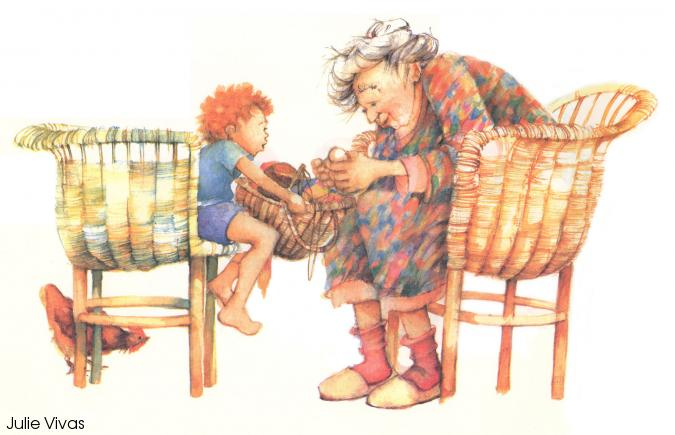 A little red-headed boy and a white-haired old woman looking at items in a basket