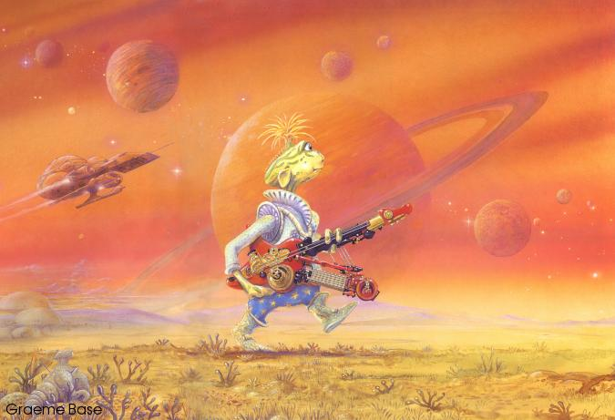 A young alien carrying a stringed instrument walks across an orange planet