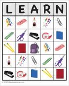 A Learn bingo card
