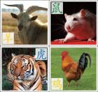 Images of a goat, rat, tiger, and rooster