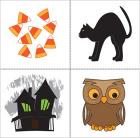 Candy corn, black cat, haunted house, and owl