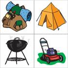 Backpack, tent, charcoal grill, and lawnmower