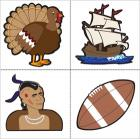 Turkey, Mayflower, Native American, and football