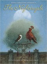 A nightingale and a mechanical bird are both singing on a silver pedestal.