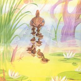 A mother duck and a troop of little ducklings paddling away on a pond