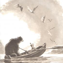 A boy in a rowboat with a large bear