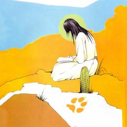 A Native American girl writing in a notebook while sitting in a desert landscape