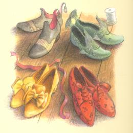 Four pairs shoes: one yellow with bows, red with laces, green with fish tails, and black patent