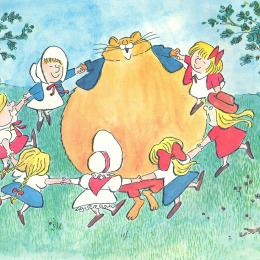 A huge yellow cat playing with a group of children in a grassy field