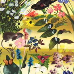 A diverse collection of spring flowers on a golden background; red-winged blackbird, a butterfly and mouse