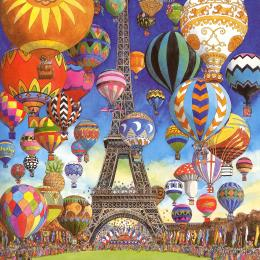 Dozens of colorful hot-air balloon floating around the Eiffel Tower