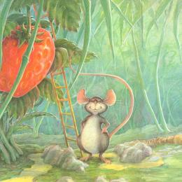 A little gray mouse standing proudly beside a big red strawberry