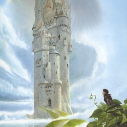 A young boy sitting among large bean plant leaves looking at a very tall castle surrounded by clouds