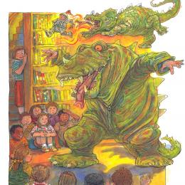 A man in a giant alligator suit telling a story in a library