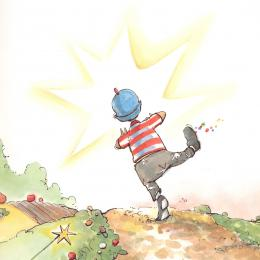 A boy wearing gray pants, a red and white striped shirt and a blue cap skips down a road