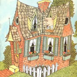 A wise looking pig in a sturdy brick house with white curtains in the windows and tulips in window boxes