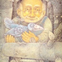 A little, old, bald man holding a mechanical bird