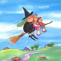 A witch with green hair along with a boy and girl, riding on a broomstick