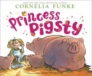 Princess Pigsty cover - a girl sitting next to two large pigs